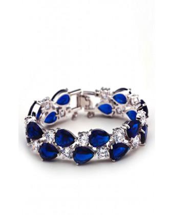 Вечерний браслет на руку синиий
