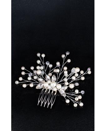 Гребень для волос с жемчугом и кристаллами