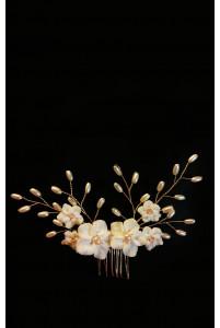 Гребень с цветочками и жемчугом
