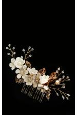 Гребень в волосы с цветами айвори