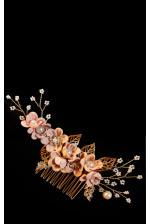 Гребень в волосы с цветами пудра