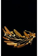 Необычный веночек с золотыми перьями