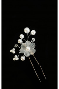 Шпилька цветок с жемчугом белый