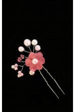 Шпилька цветок с жемчугом розовый