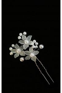 Шпилька цветы с жемчугом