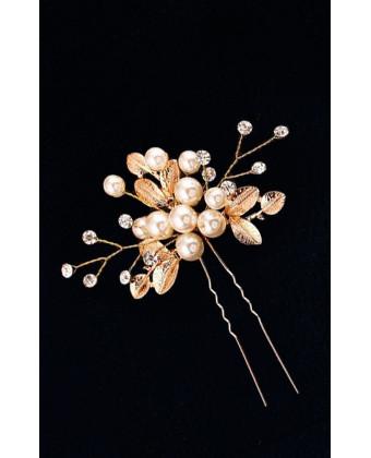 Шпилька для волос с золотыми листьями