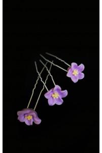 Шпилька в волосы цветочек сиреневый