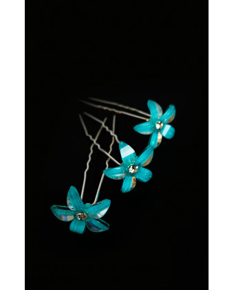 Шпилька хрустальный цветок голубой