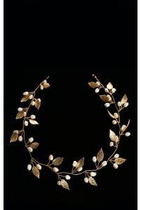 Золотая веточка в волосы с листиками