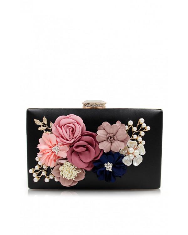 9716b1247c80 Черный клатч с 3d цветами купить в интернет-магазине Роял-бутик ...