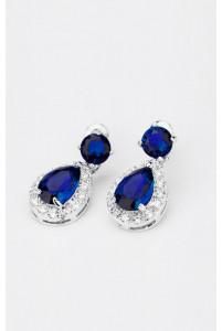 Серьги капельками синие