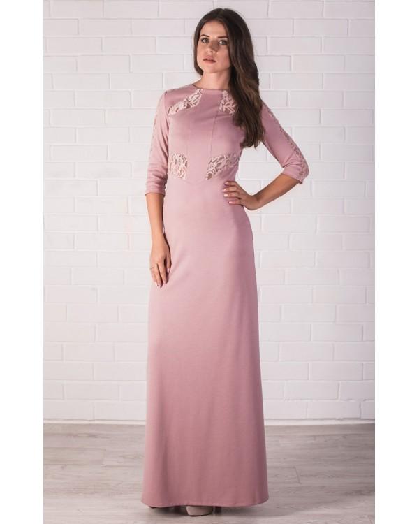 a4c3f2ce4b7 Трикотажное платье в пол цвета пудры купить в интернет-магазине Роял ...