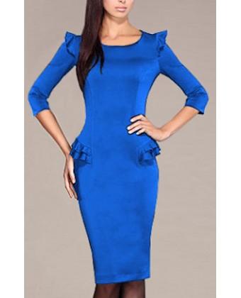 Деловое платье электрик