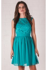Бирюзовое коктейльное платье с кружевом