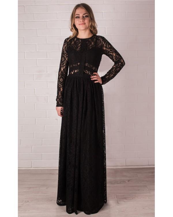 Платье в пол черное гипюровое платье