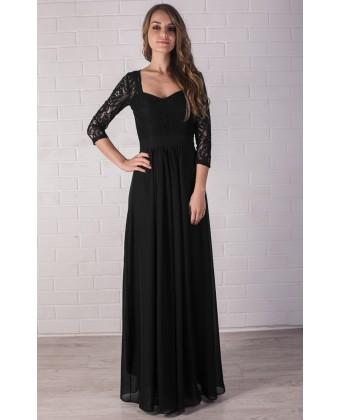 Черное вечернее платье с рукавом
