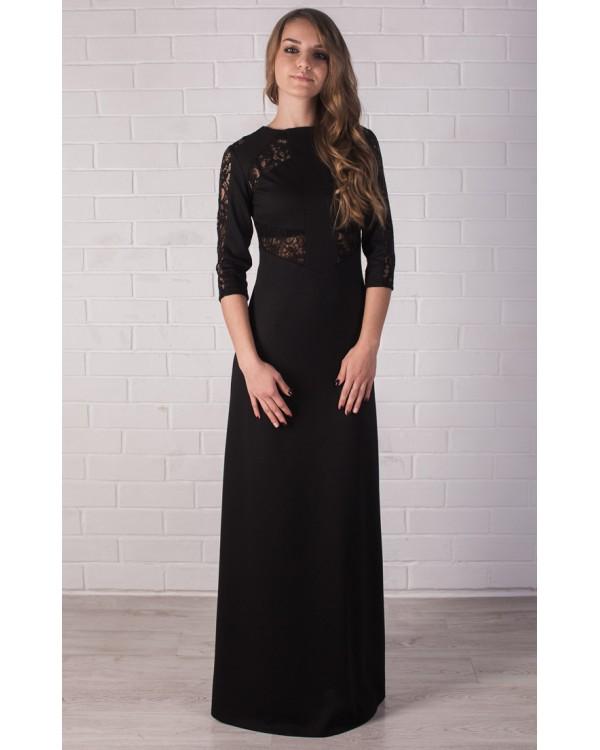20cc554afd7 Длинное черное платье в пол купить в интернет-магазине Роял-бутик ...