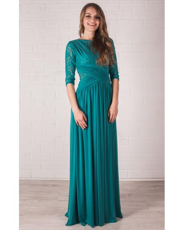42c41cba6fe Длинное платье с рукавом и гипюром купить в интернет-магазине Роял ...