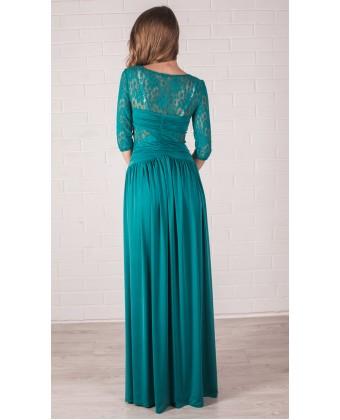 Длинное платье с рукавом и гипюром