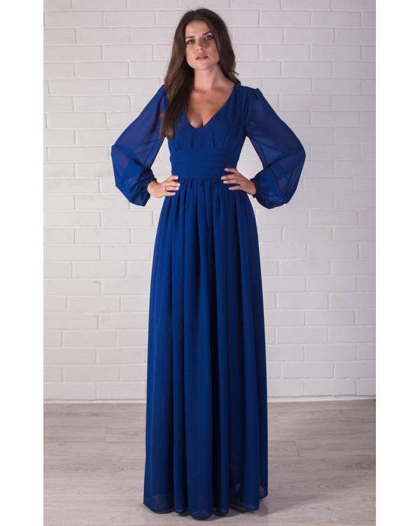 eef965fa127e4 Длинное платье с рукавом из шифона купить в интернет-магазине Роял ...