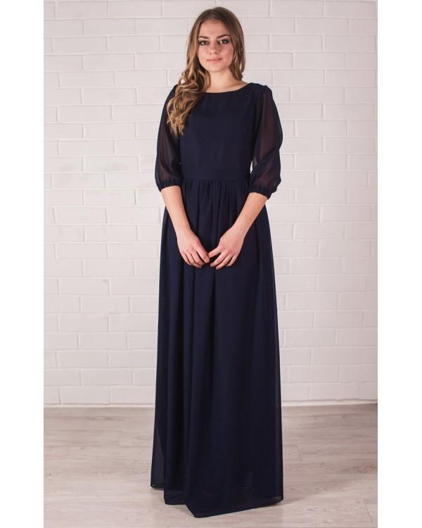 96b8433544d Длинное платье темно синего цвета купить в интернет-магазине Роял ...