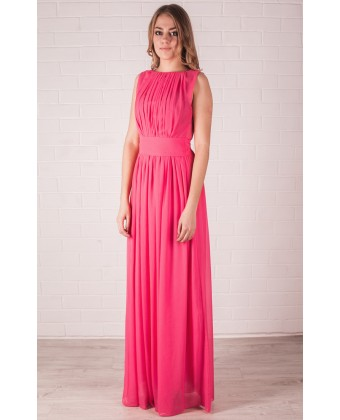 Длинное шифоновое коралловое платье