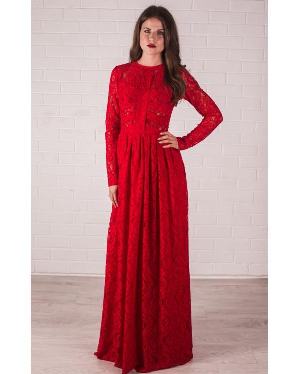 192f0e759f4 Гипюровое платье с длинным рукавом купить в интернет-магазине Роял ...
