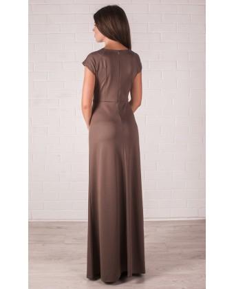 Кофейное платье в пол с кружевом