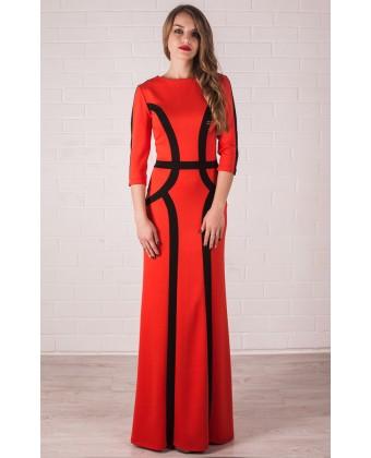 Платье в пол с рукавом и рельефными линиями