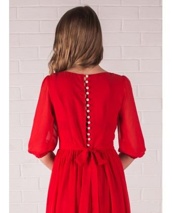 Красное платье в пол с рукавом