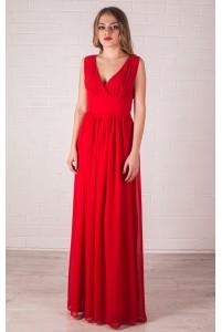 Красное платье в пол с вырезом