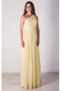 Лимонное платье на одно плечо