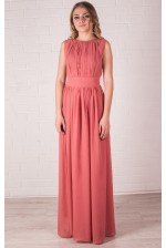 Лососевое платье в пол в греческом стиле