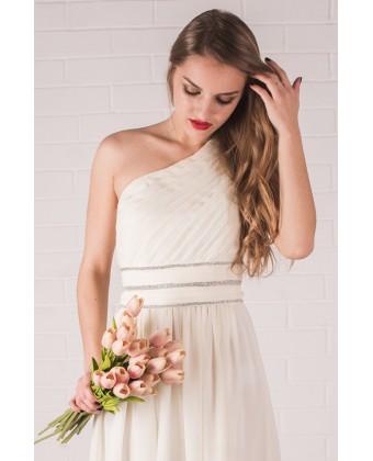 Молочное платье в пол на одно плечо