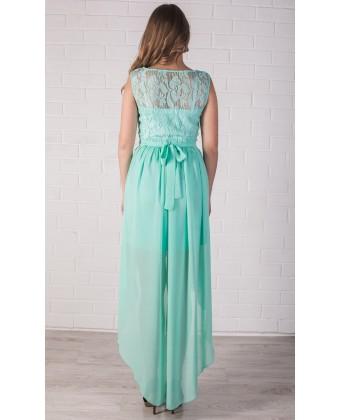 Мятное платье с асимметричной юбкой