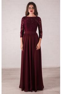 Платье марсала с рукавом