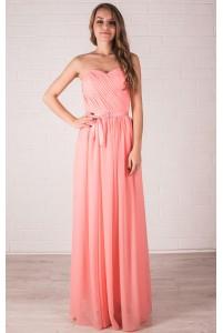 Платье персикового цвета на корсете
