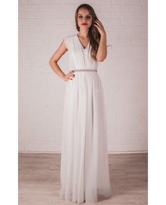 Платье в пол с рукавчиком-крылышком