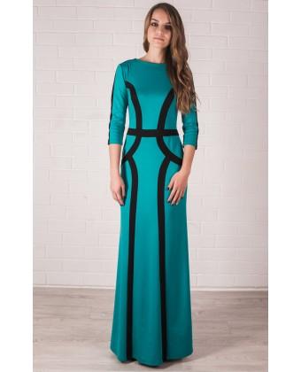 Бирюзовое трикотажное платье в пол с рукавом