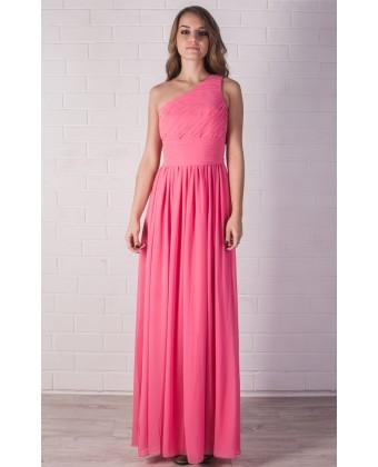 Розовое платье на одно плечо
