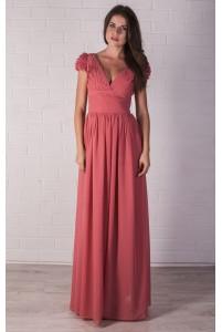 Шифоновое платье с рюшами по рукавчику
