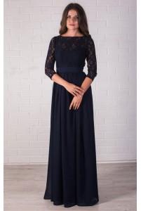 Темно синее платье в пол с рукавом