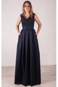 Темно синее вечернее платье коттоновое