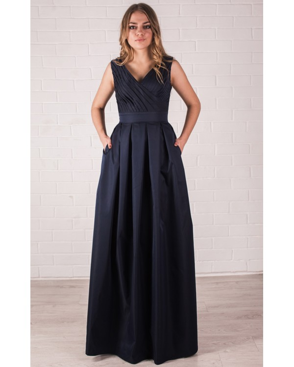 d6873e2a62d Темно синее вечернее платье коттоновое купить в интернет-магазине ...