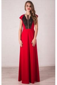 Трикотажное красное платье в пол