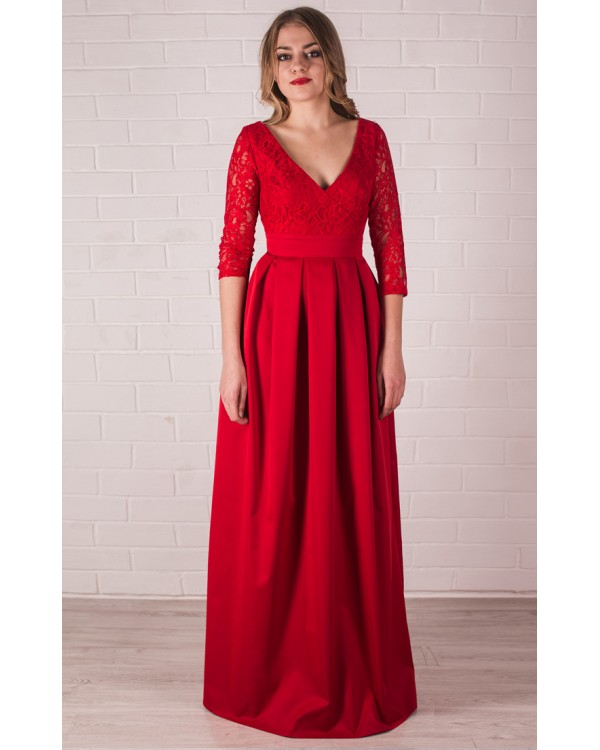 1cd23a260d2 Вечернее красное платье в пол с рукавом купить в интернет-магазине ...