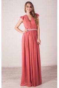 Вечернее платье лососевого цвета