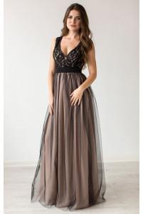 Бежевое вечернее платье с черным