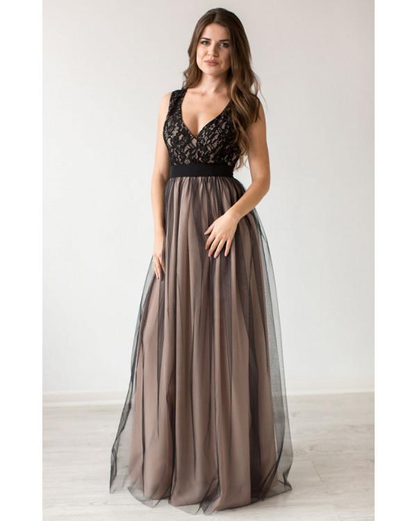 3ab3b7babdc2 Бежевое вечернее платье с черным купить в интернет-магазине Роял ...