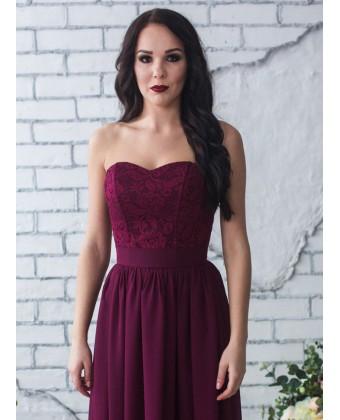 Корсетное платье марсала